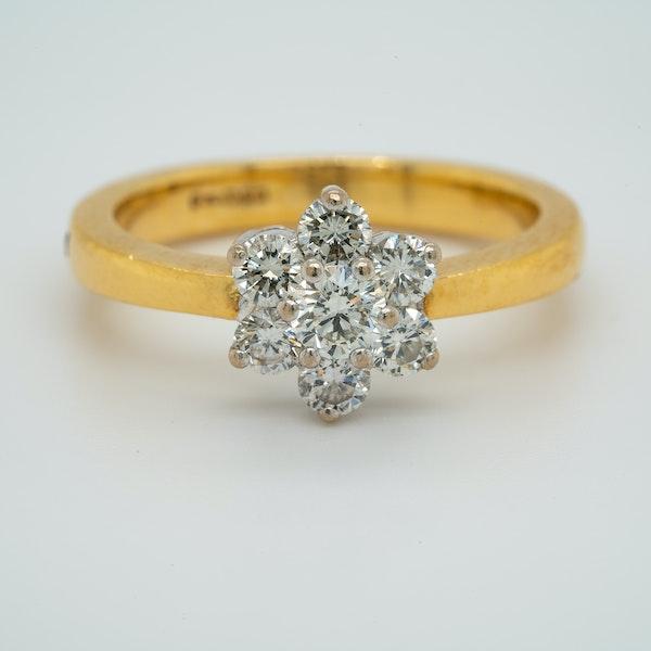 18K white/yellow gold 0.90ct Diamond Cluster Ring - image 1