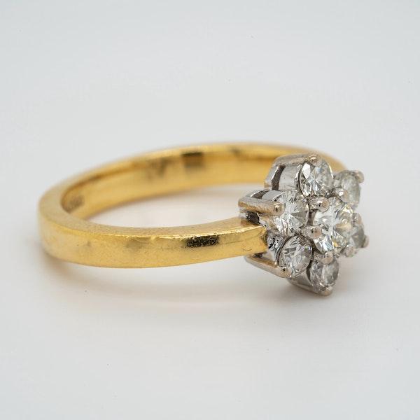 18K white/yellow gold 0.90ct Diamond Cluster Ring - image 2