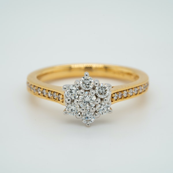 18K white/yellow gold 1.00ct Diamond Cluster Ring - image 1