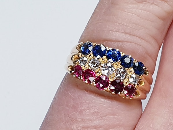 Antique three row sapphire diamond and ruby ring  DBGEMS - image 1