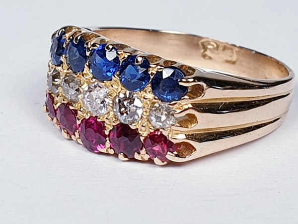 Antique three row sapphire diamond and ruby ring  DBGEMS - image 3