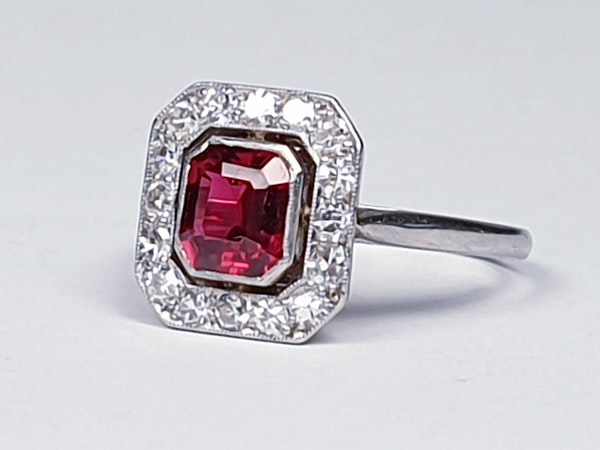 Art deco red spinel and diamond engagement ring set in platinum  DBGEMS - image 1