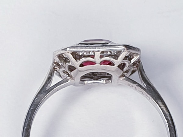Art deco red spinel and diamond engagement ring set in platinum  DBGEMS - image 4