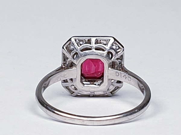 Art deco red spinel and diamond engagement ring set in platinum  DBGEMS - image 3