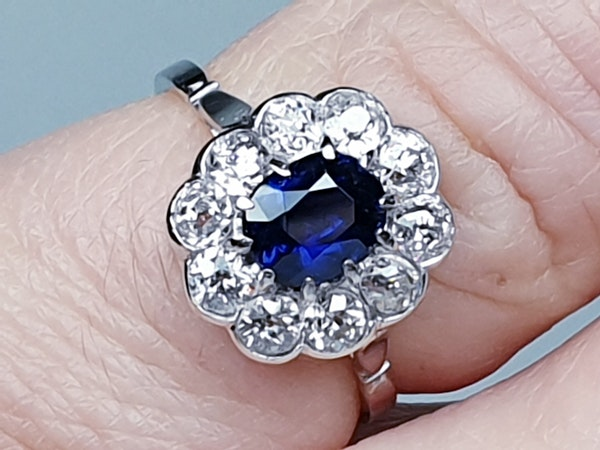 Art deco sapphire and diamond engagement ring  DBGEMS - image 4
