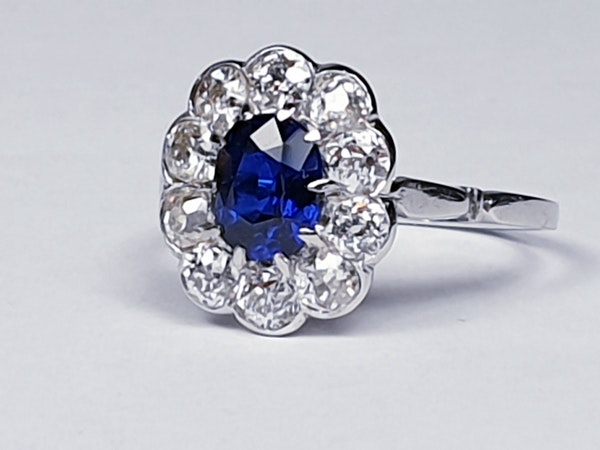 Art deco sapphire and diamond engagement ring  DBGEMS - image 1