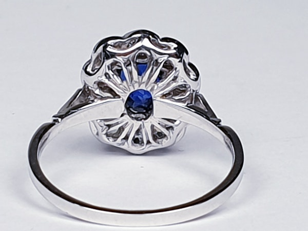 Art deco sapphire and diamond engagement ring  DBGEMS - image 2