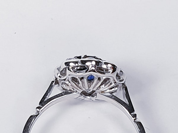 Art deco sapphire and diamond engagement ring  DBGEMS - image 3