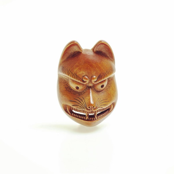 Wood mask Netsuke - image 1