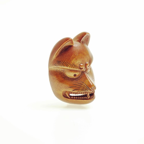 Wood mask Netsuke - image 2