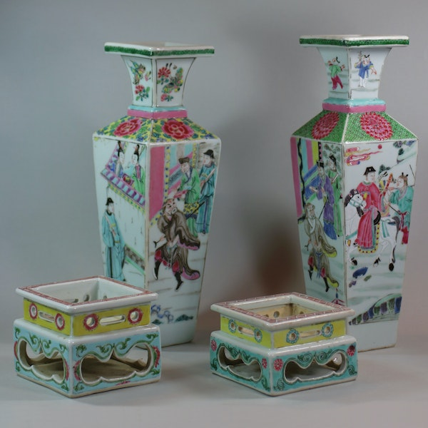 Rare near pair of Chinese famille rose vases and stands, Yongzheng (1723-35) - image 6