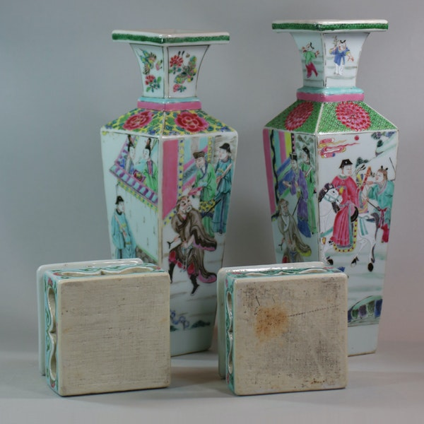 Rare near pair of Chinese famille rose vases and stands, Yongzheng (1723-35) - image 5