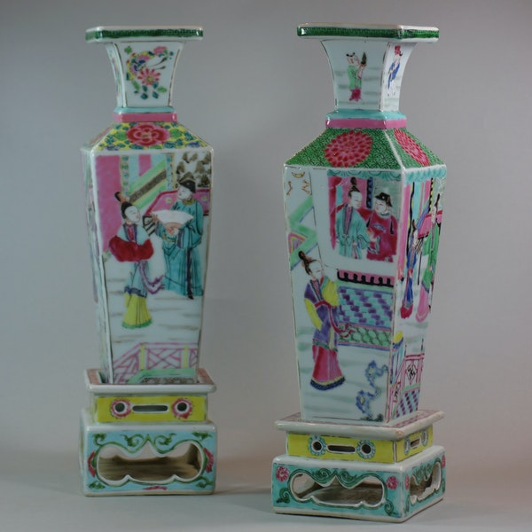 Rare near pair of Chinese famille rose vases and stands, Yongzheng (1723-35) - image 1