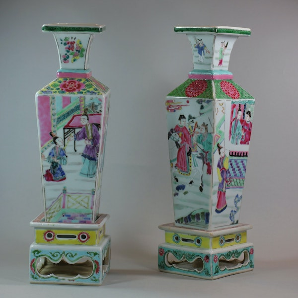 Rare near pair of Chinese famille rose vases and stands, Yongzheng (1723-35) - image 9