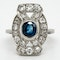 Diamond and sapphire tablet along the finger cluster ring - image 1