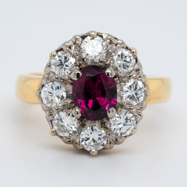 Ruby and diamond oval cluster ring - image 1