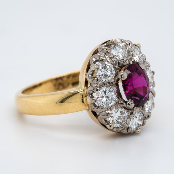 Ruby and diamond oval cluster ring - image 2
