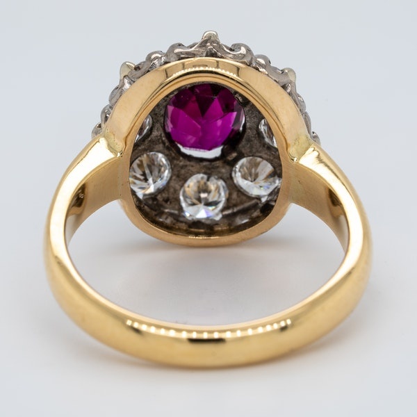 Ruby and diamond oval cluster ring - image 4