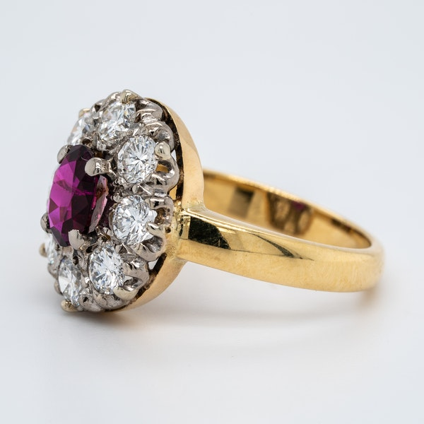 Ruby and diamond oval cluster ring - image 3