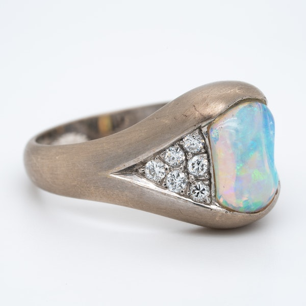 Shaped opal and diamond cluster ring - image 2