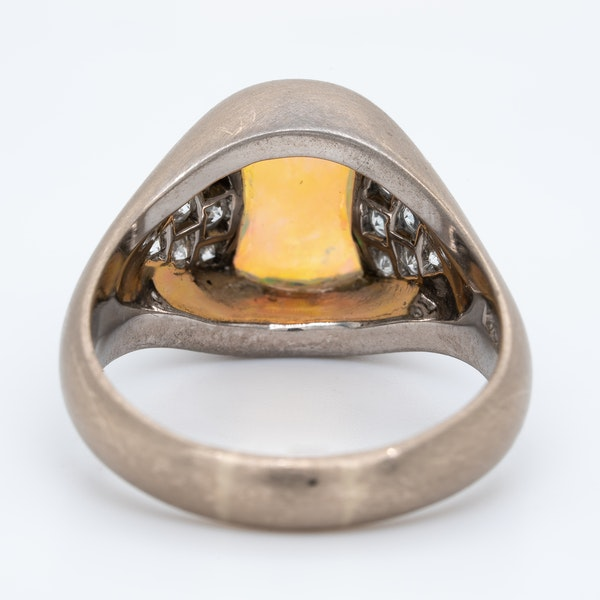 Shaped opal and diamond cluster ring - image 4