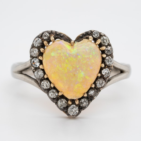 Heart shaped opal and diamond cluster ring - image 1