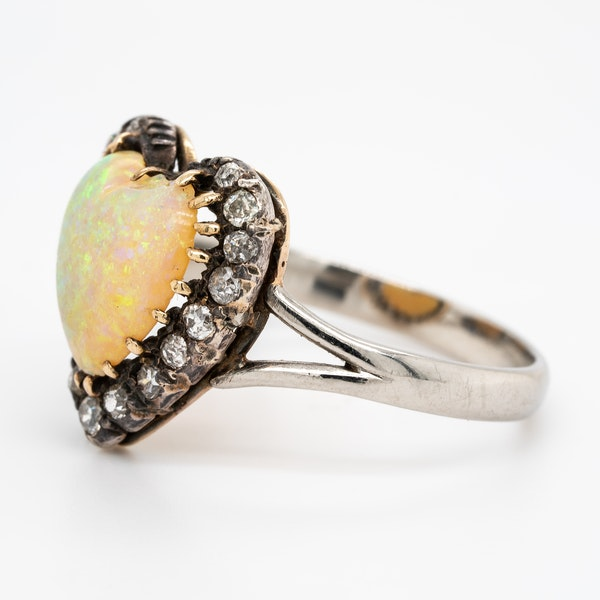 Heart shaped opal and diamond cluster ring - image 3