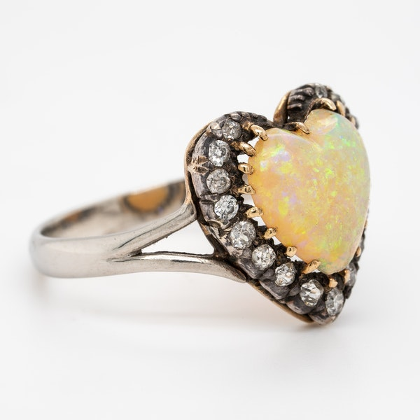 Heart shaped opal and diamond cluster ring - image 2