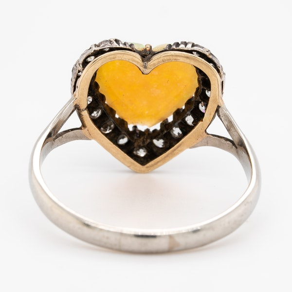Heart shaped opal and diamond cluster ring - image 4