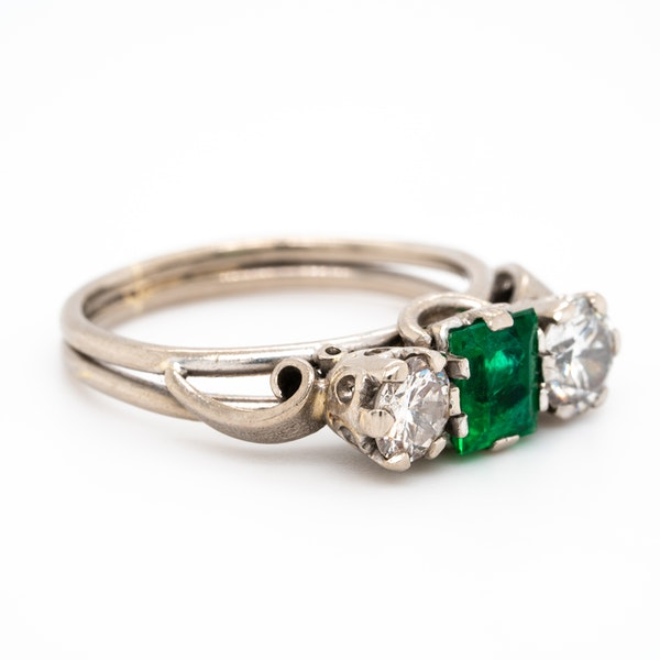 Emerald and diamond 3 stone ring - image 2