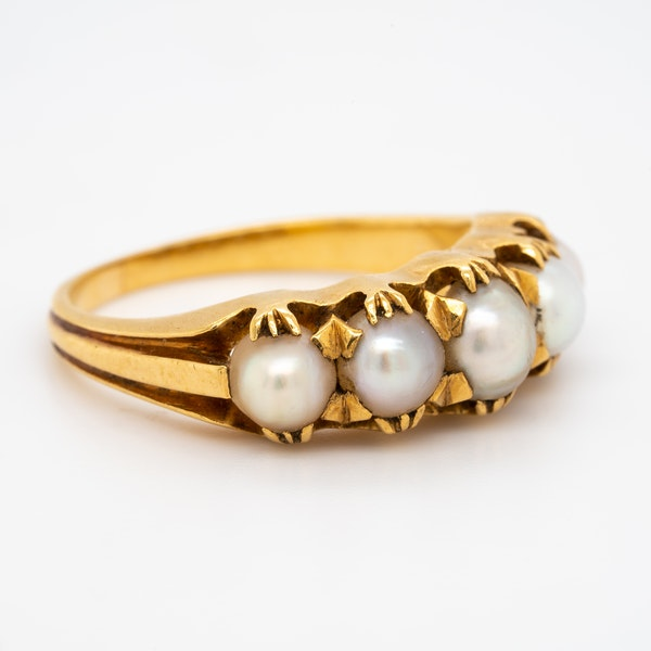 24 ct gold natural pearl 5 stone half hoop ring - image 2