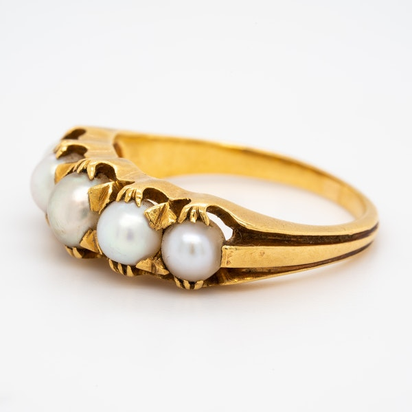 24 ct gold natural pearl 5 stone half hoop ring - image 3