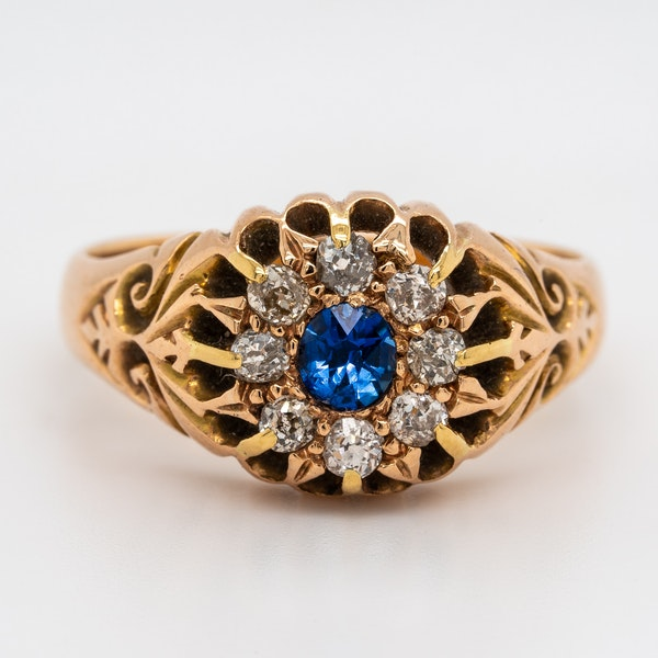 Victorian diamond and sapphire round cluster ring - image 1