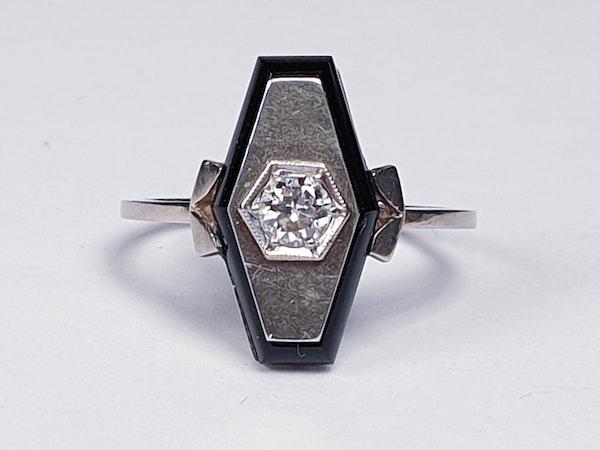 French Onyx and Diamond Lozenge Engagement Ring  DBGEMS - image 1