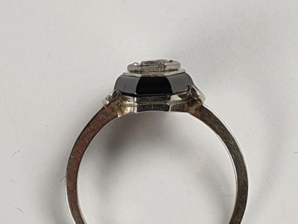 French Onyx and Diamond Lozenge Engagement Ring  DBGEMS - image 5