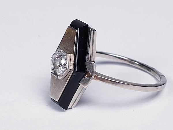 French Onyx and Diamond Lozenge Engagement Ring  DBGEMS - image 3