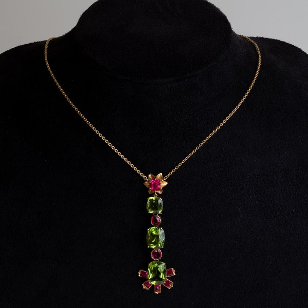 18 ct gold peridot and natural red spinel dangly pendant (with matching earrings) - image 1