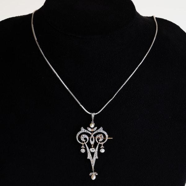 Art Deco diamond and pearl pendant/brooch - image 1