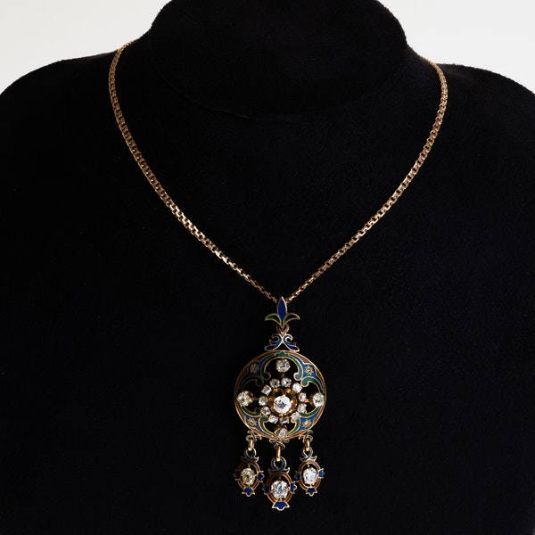 Enamel and diamond gold pendant. Probably Russian, on Russian red gold chain. - image 1