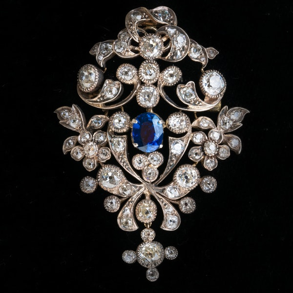 Victorian diamond and sapphire, gold on silver pendant/brooch - image 1