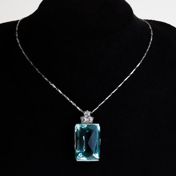 Aquamarine and diamond large Art Deco necklace - image 1