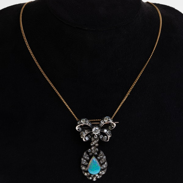 Opal and diamond antique French necklace - image 1