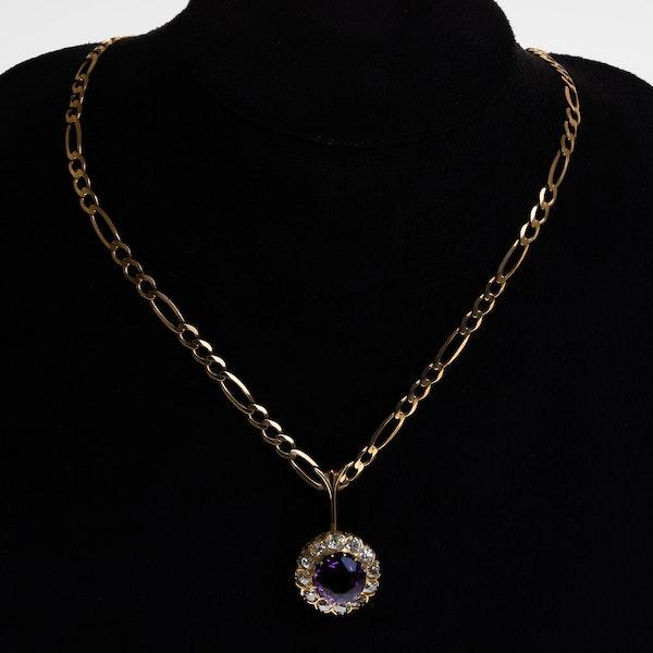 Victorian amethyst and diamond circular pendant - image 1