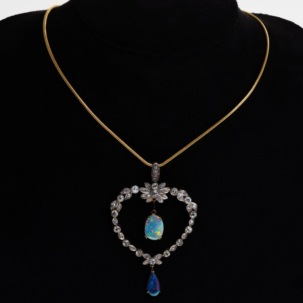 Edwardian large diamond heart and opal necklace with black opal drop - image 1