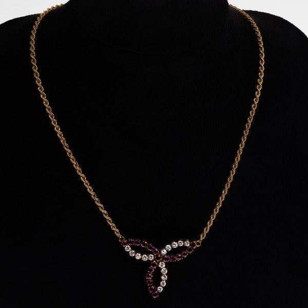 Ruby and diamond retro fancy necklace - image 1