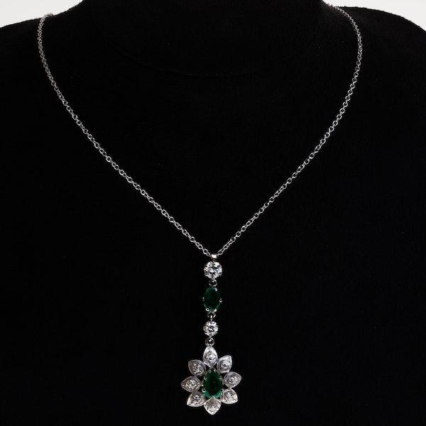 1960s emerald and diamond long pendant - image 1