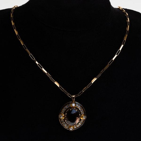 Victorian pink/orange tourmaline, diamonds and enamel pendant - image 1