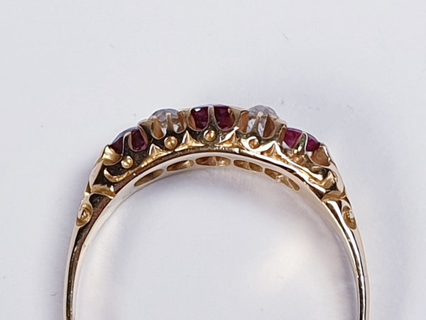 Antique ruby and diamond five stone ring  DBGEMS - image 2
