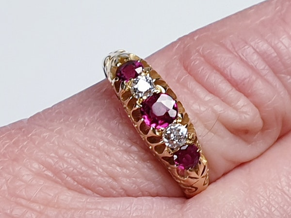 Antique ruby and diamond five stone ring  DBGEMS - image 3