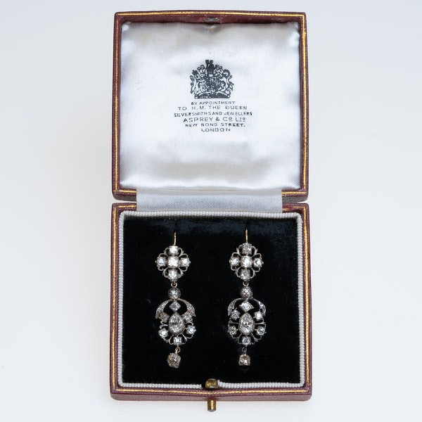 Georgian all diamond earrings with detachable tops - image 1